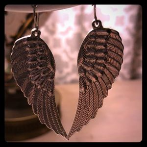Jewelry - Silver angel wing earrings.